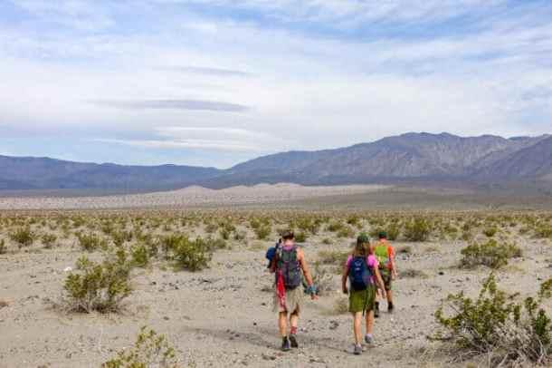Kids and Nancy heading towards Panamint Dunes