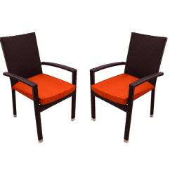 Orange Outdoor Chairs X Rocker Pedestal Gaming Chair Instructions Set Of 2 Black Resin Wicker Patio Furniture Dining