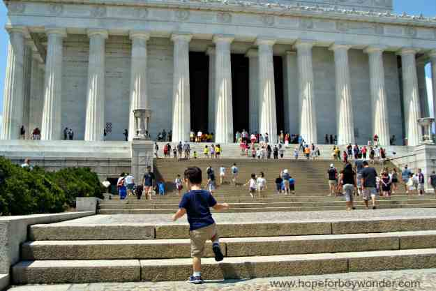 climbing the steps of the Lincoln Memorial