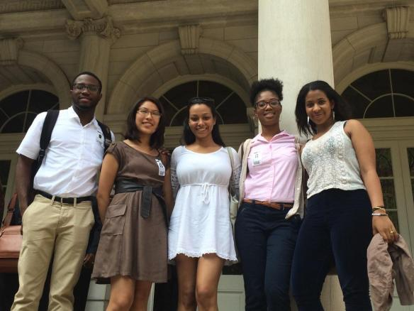 2015 Hope Fund Fellows in front of City Hall. From left to right: Kareem Watson, Arianna Flores Perez, Chenisvel Nunez, Rahilou Diallo, and Semhal Gessesse