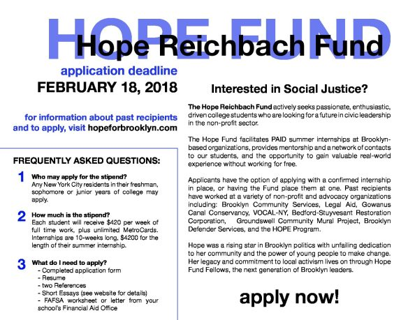 hope fund application for social justice fellows released  the hope reichbach fund 2018 application period now live apply online by clicking here this year s application will be due on 18th