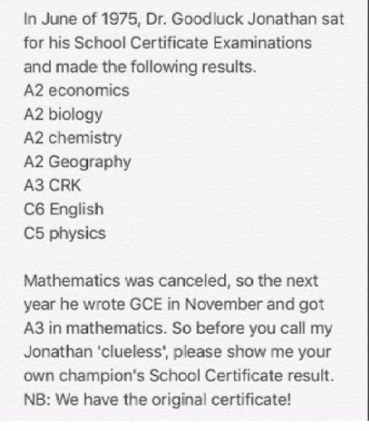 WAEC result of 'Dr. Goodluck Jonathan'