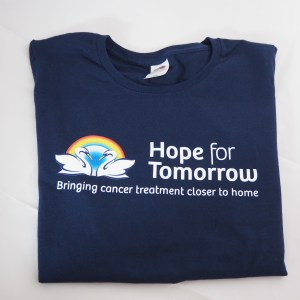 Hope for Tomorrow T Shirt in blue with logo and strap line