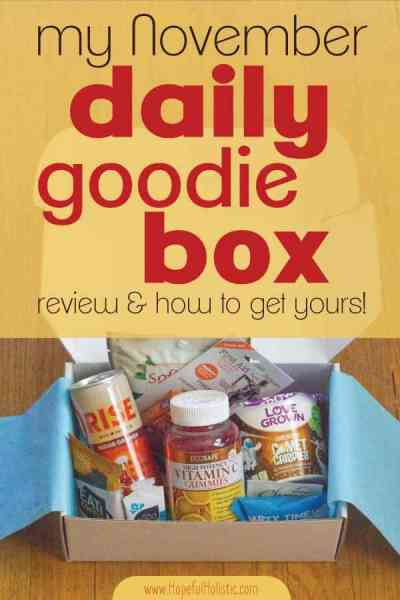 The November Daily Goodie Box with text overlay- my november daily goodie box review and how to get yours!