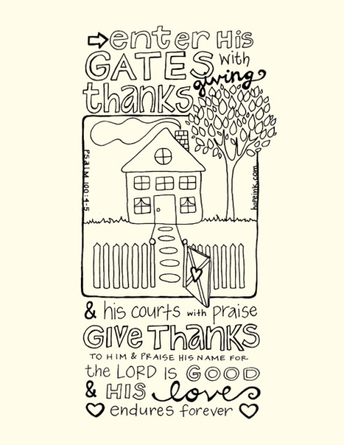 Thanksgiving House Scripture Coloring Sheet Printable