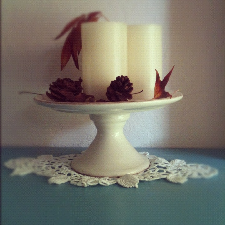 Fall Candles Leaves Cake Plate Centerpiece