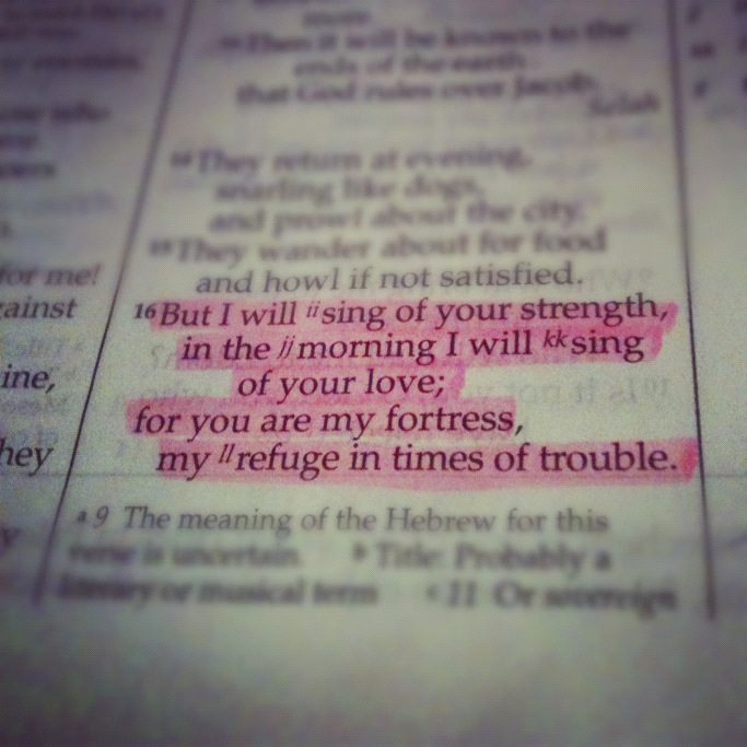 Psalm 59:16 Highlighted Bible Page