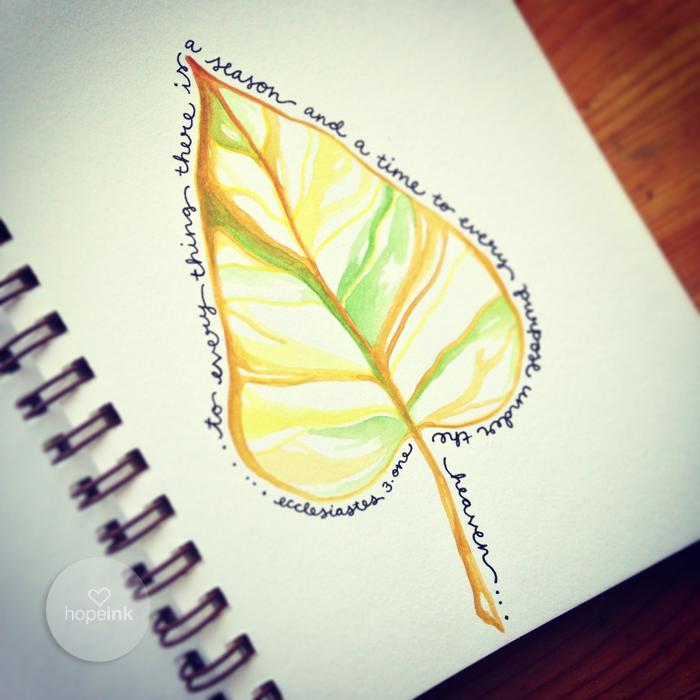 Leaf Watercolor Seasons Hopeink