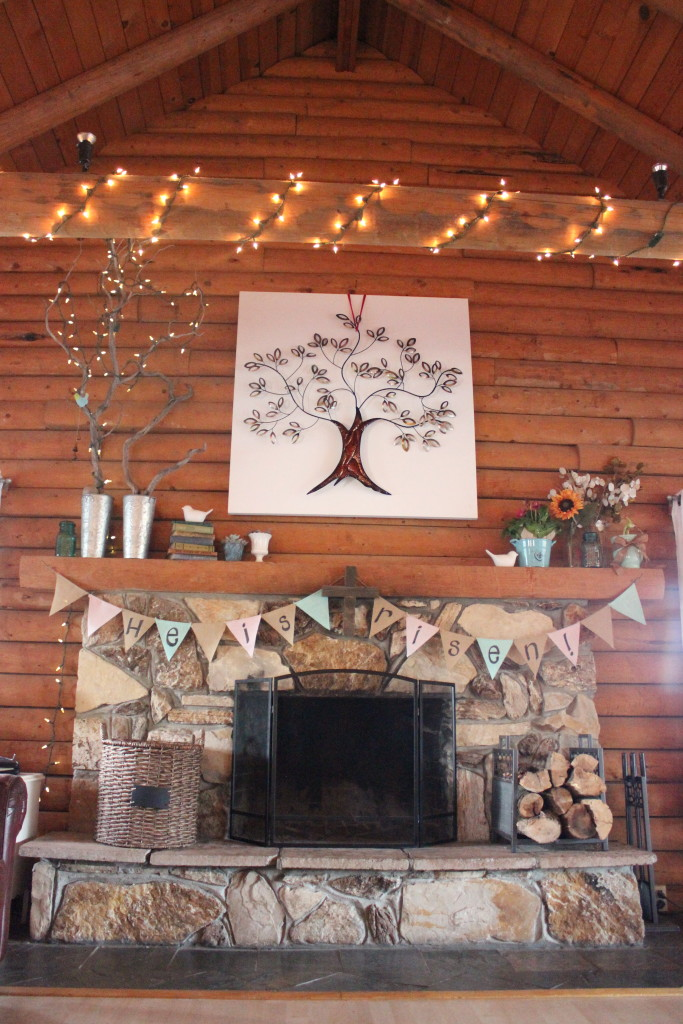 stone fireplace easter bunting