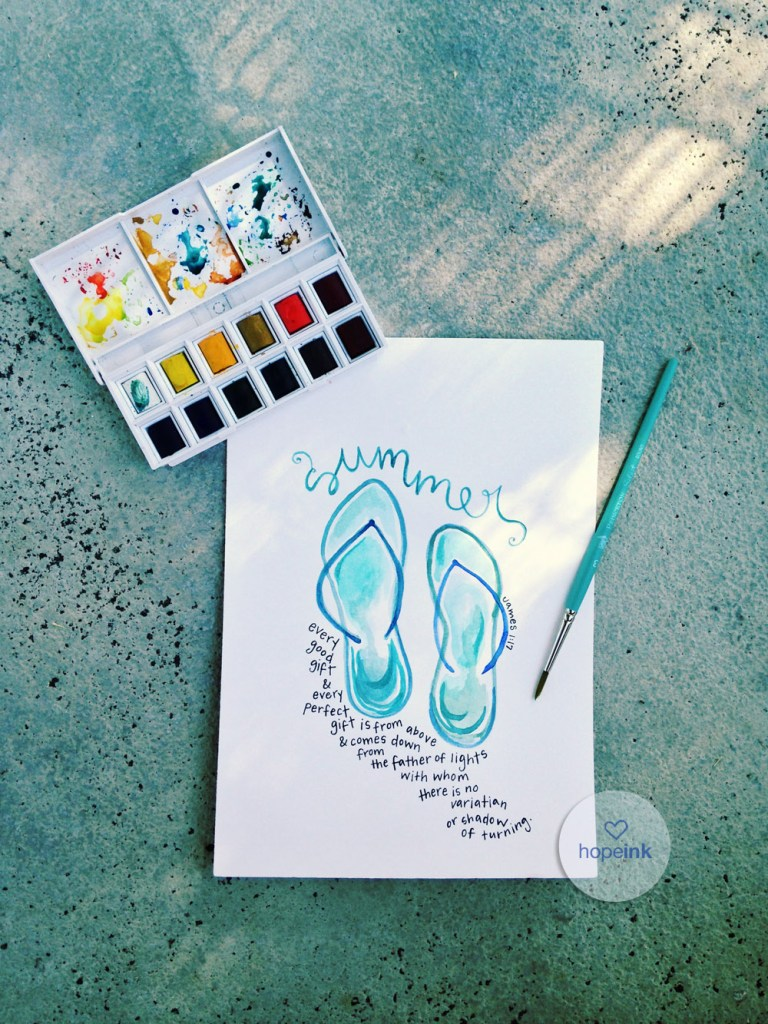 Summer Watercolor Scripture Art
