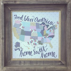 Patchwork Map Art Print God Bless America Hope Ink