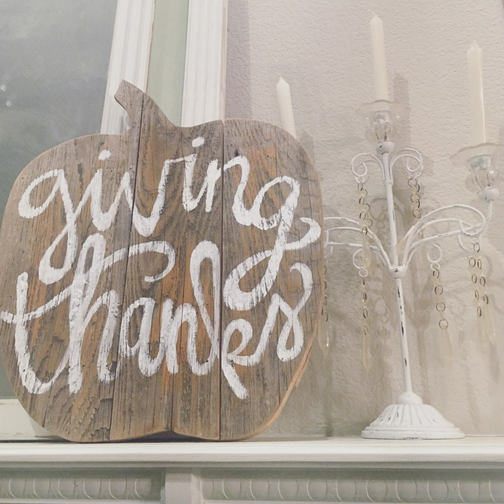 Giving Thanks Hand-Lettered Wood Pumpkin | Hope Ink