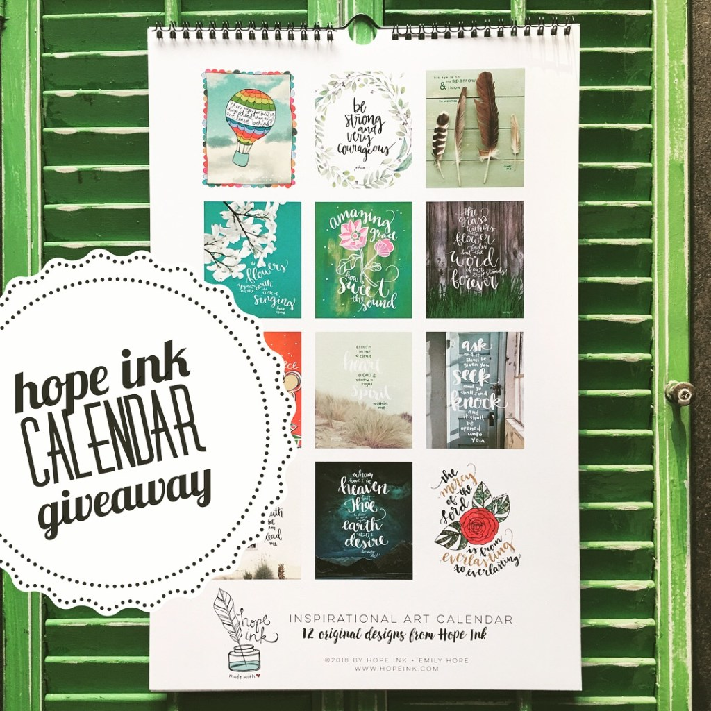 Instagram Calendar Giveaway | Hope Ink