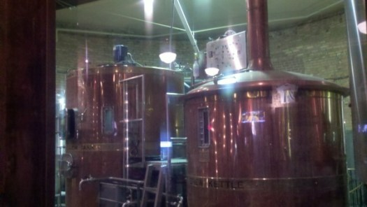 The brewing vessels at Maumee Bay Brewing.