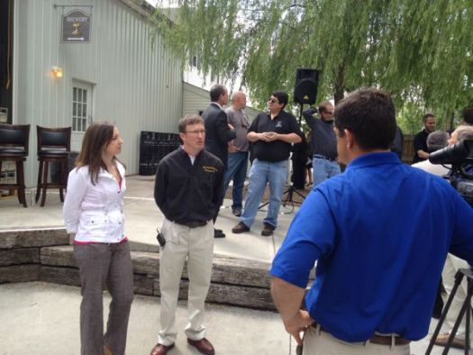 Mike and Kathleen Dewey being interviewed by WCPO