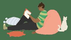 Grafik: Junge macht es sich mit Buch gemütlich.