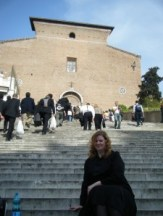 Mélanie Hope on the front steps of the Basilica di Santa Maria in Ara coeli, Rome Italy