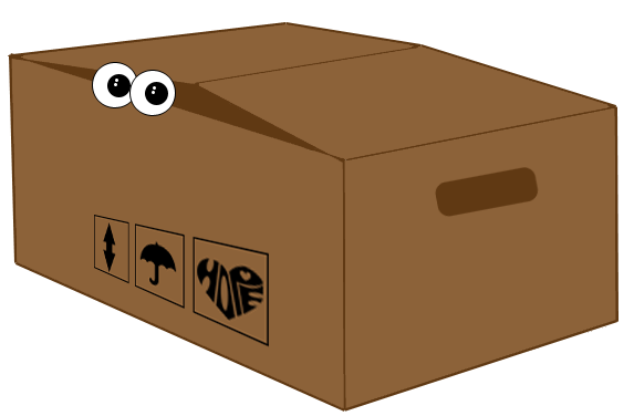 Moving box with fearful eyes