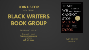 Join us for Rev. Greg's Black Writers Book Group starting in July