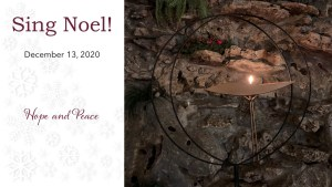 A lit chalice for Sing Noel