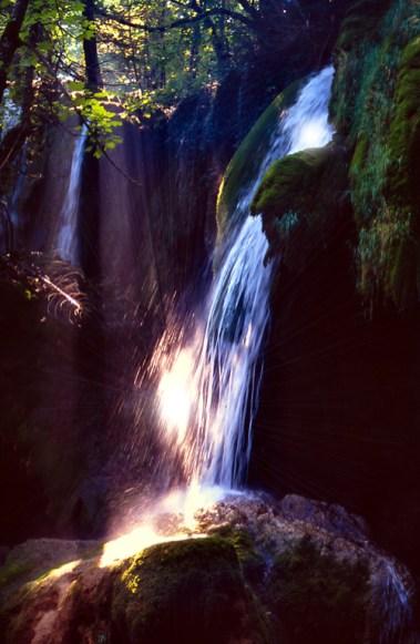 Plitvice falls, sunburst