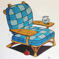 Dr Seuss Chair No Gravity Art Inspired By Beloved Children S Books The Johns Hopkins Hospital Artwork Of A Blue Checkered