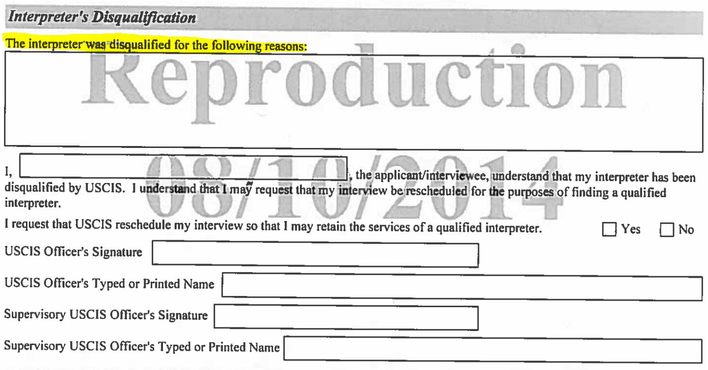 New Rule on Interpreters at USCIS Interviews - Form G-1256
