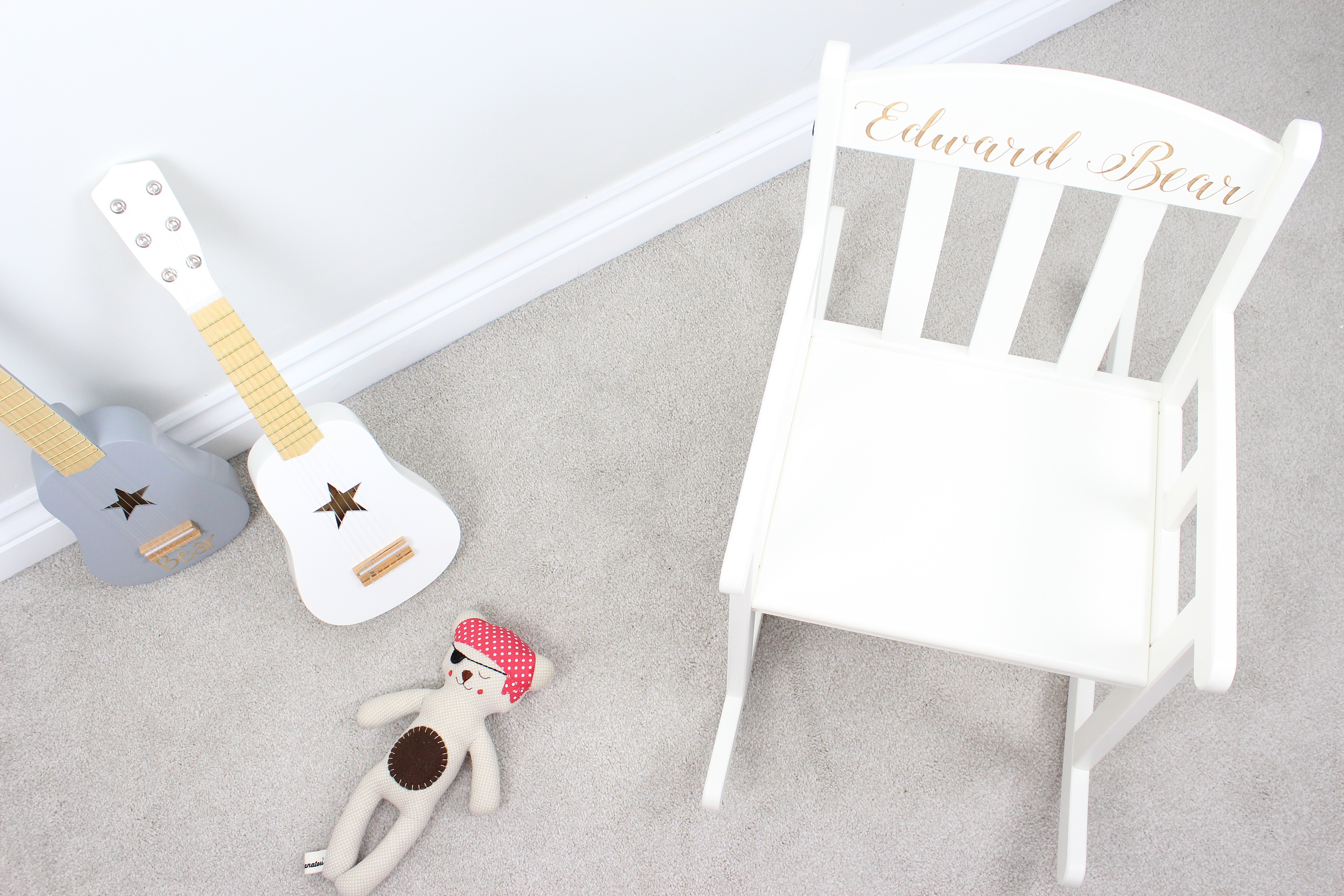 engraved rocking chair cheap wedding covers hire personalised white hopwood laser design