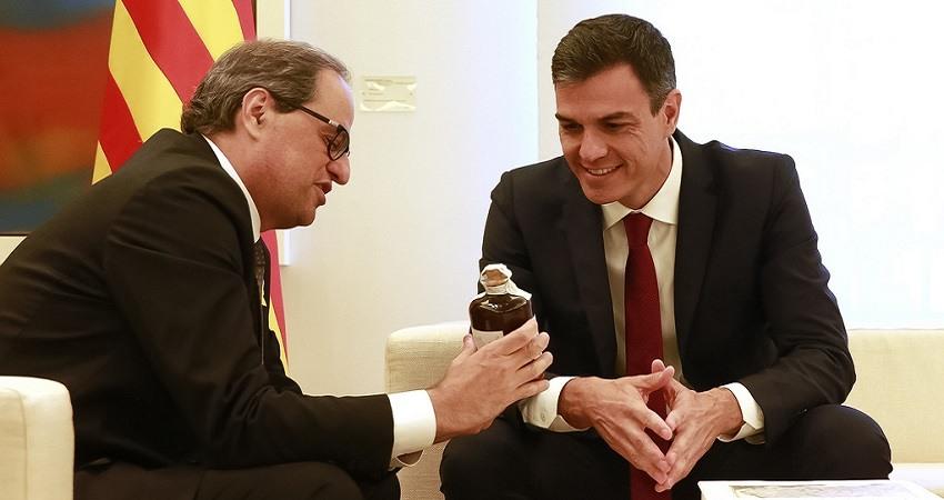 Sanchez recibe en La Moncloa al presidente de la Generalitat de Cataluna Quim Torra el 09 07 2018