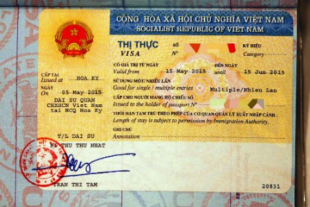 Visado a la llegada a Vietnam