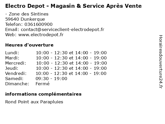 ouverture electro depot magasin