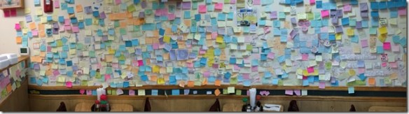 Post It Wall At Kims Teriyaki