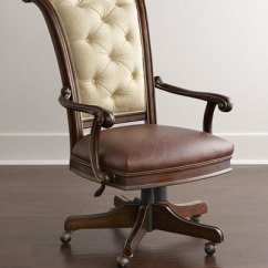 Distressed Leather Desk Chair Rocking Woodworking Plan Brown Tufted Office Horchow Com Quick Look
