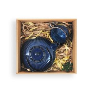 Bonna Sapphire Çay Fincanı 250 Cc Ve Porland Chai Demlik 700 Cc Seti- Lacivert Bardaklar