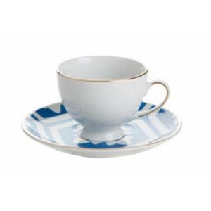Porland Morocco Desen 2 Mavi Tabaklı Kahve Fincanı 80 Cc Bardaklar