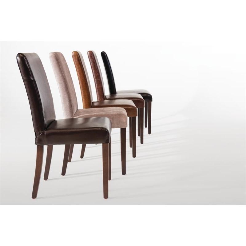 chaise dossier haut en simili cuir bolero marron patine x2