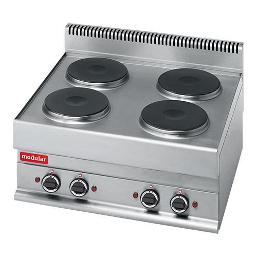 Illustratie: foto van een elektrische kookplaat met 4 pitten van Modular.