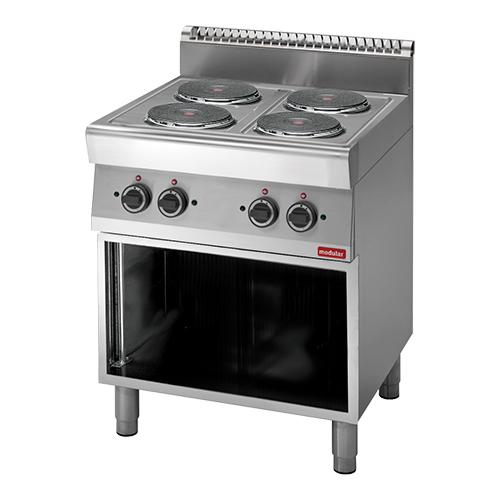 Illustratie: foto van een kooktafel met vier elektrische kookplaten uit de Professional S700-lijn van Modular.