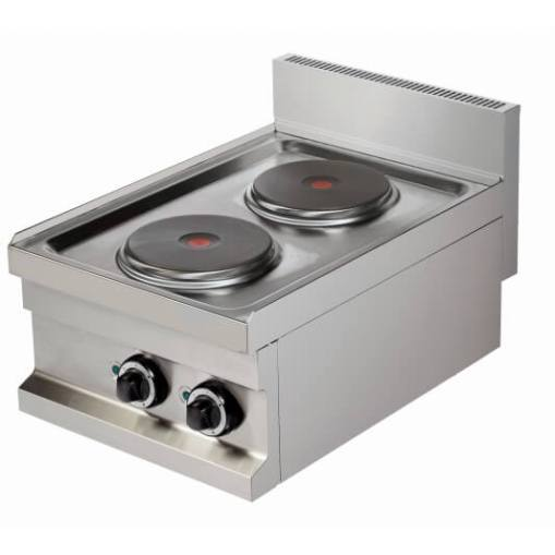 Foto van de elektrische kookplaat uit de Base 600 Standard Line van CombiSteel. De elektrische kookplaat heeft 2 branders.