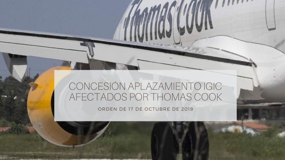 aplazamiento IGIC afectados por Thomas Cook, ORDEN de 17 de octubre de 2019