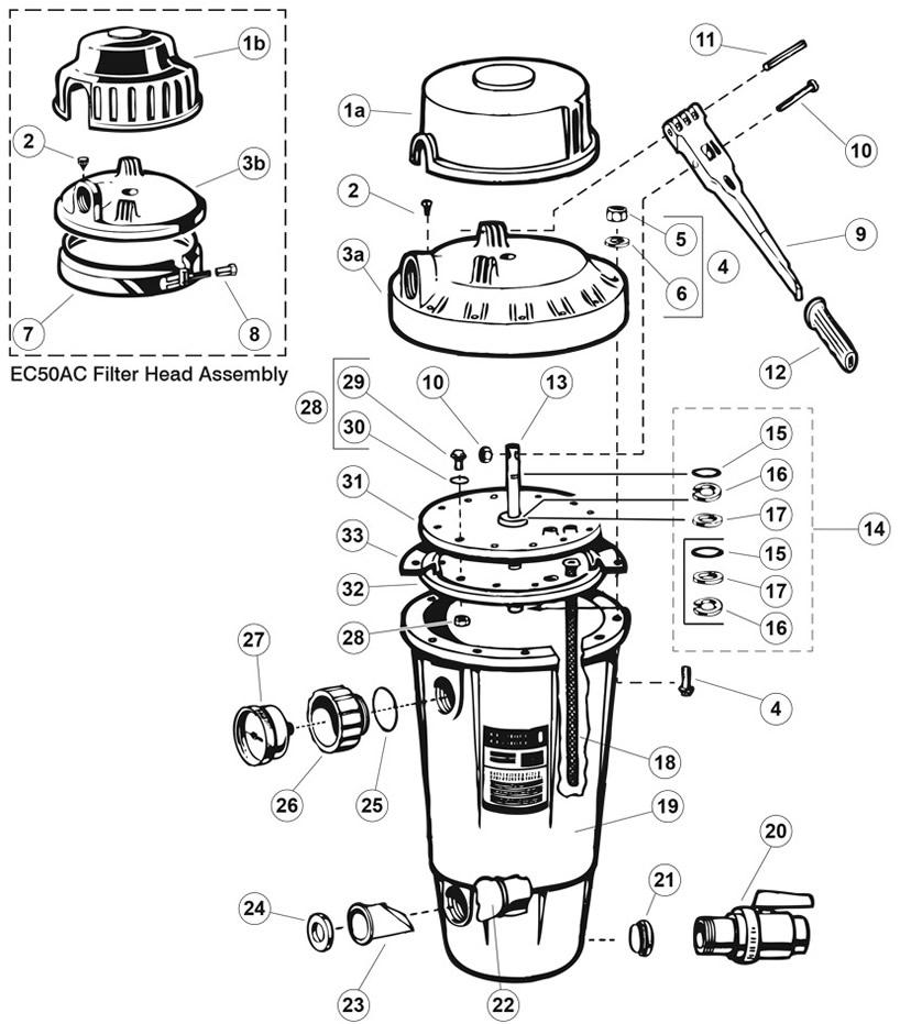 Hayward Perflex Extended-cycle DE Filter EC50A/AC Series