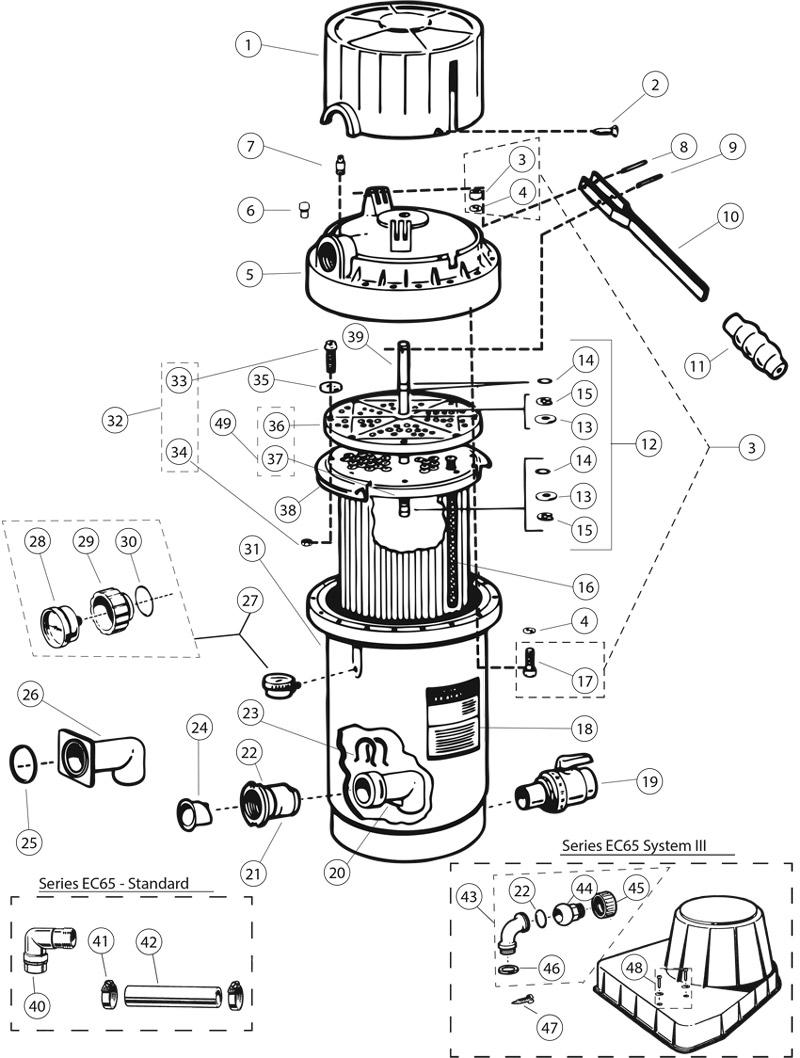 Hayward Perflex Extended-cycle DE Filter EC65,65A,75,75A
