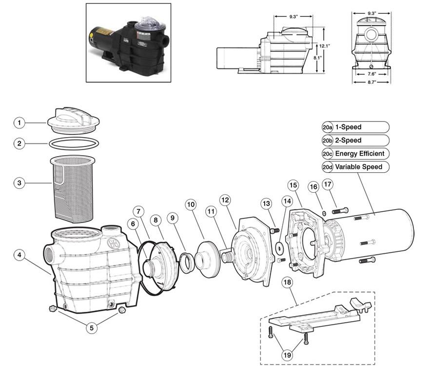 Hayward Super II SP 3000X Pump Series (Max rated)