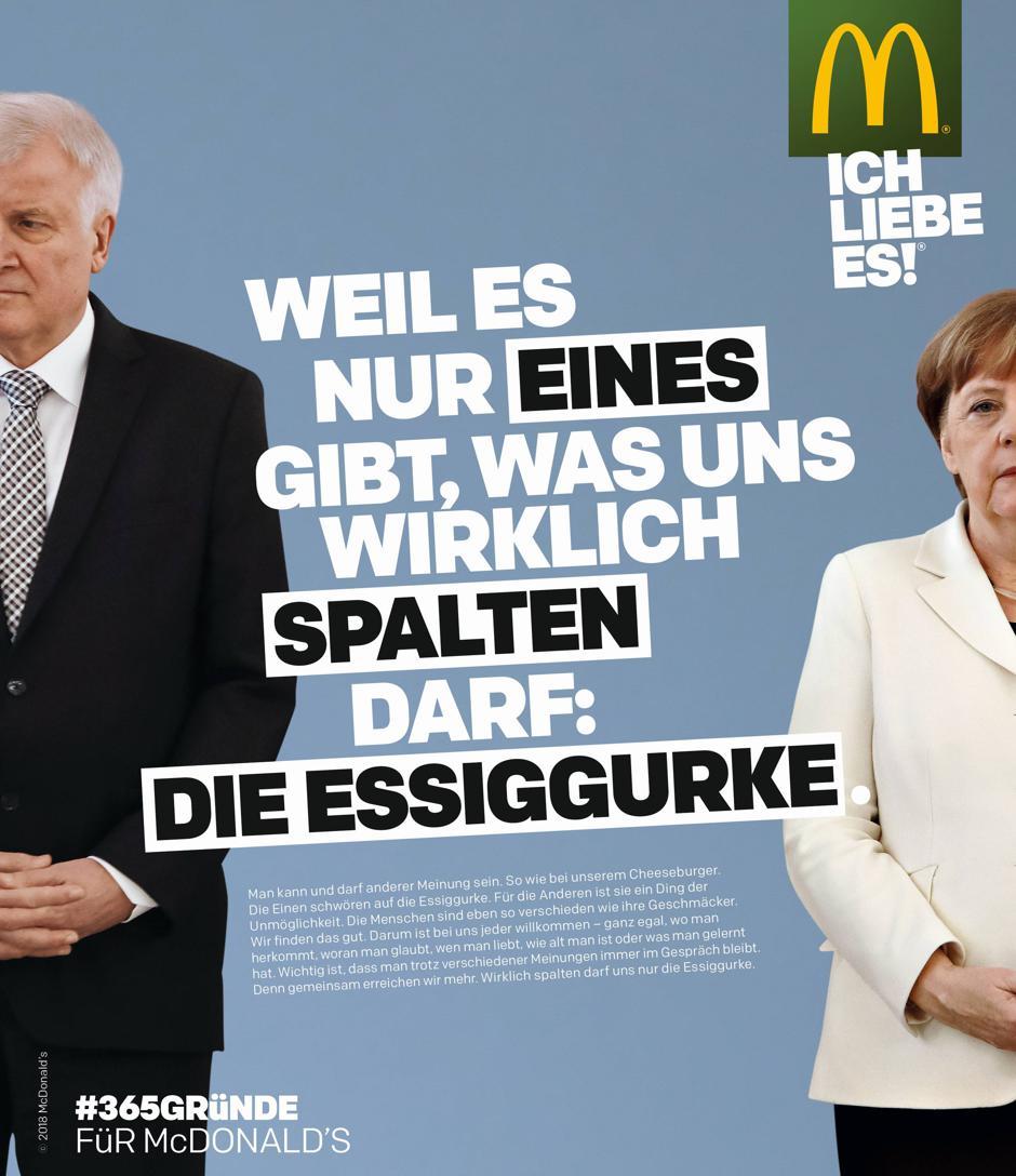 Prinzip Essiggurke Wie McDonalds mit Merkel und Seehofer fr mehr Toleranz wirbt