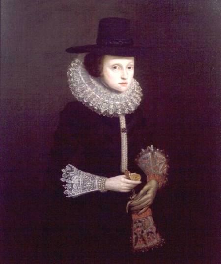 RPH74610 Portrait of Hester Crispe (nee Ireland), c.1620 by English School, (17th century) oil on canvas 110x90 Private Collection © Richard Philp, London English, out of copyright
