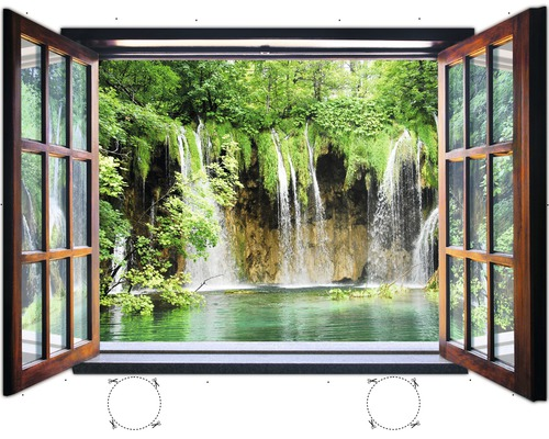 Fototapete 1961VEZ4XL Vlies Fenster Wasserfall 201 x 145
