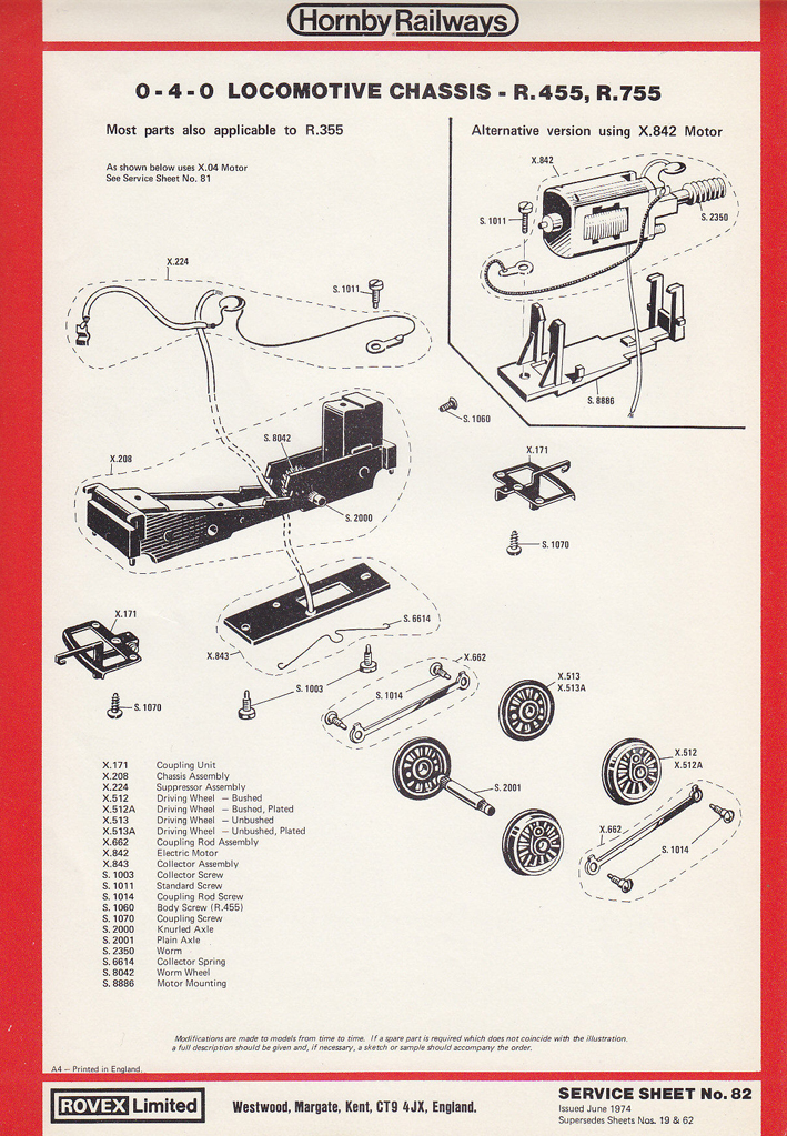Wiring Diagram Motor Hornby Railways Collector Guide Service Sheet 82