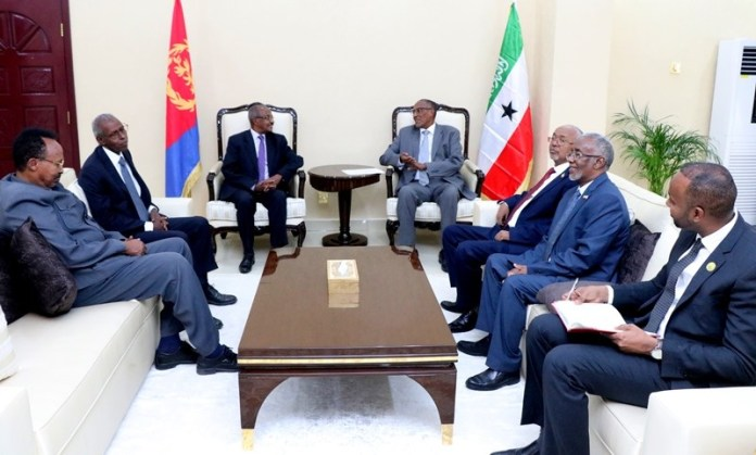 president of Somaliland Muse Bihi Abdi received in his office Eritrean Delegation led by Foreign Minister Osman salah and Mr Yemane Gebreab, the Presidential Adviser and Head of Political Affairs