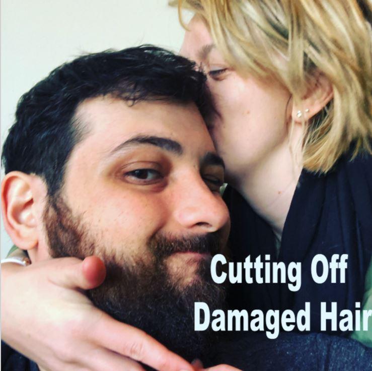 cutting off damaged hair
