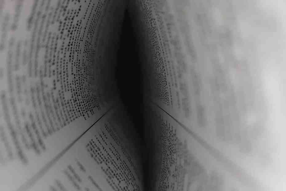 closeup of words in a book